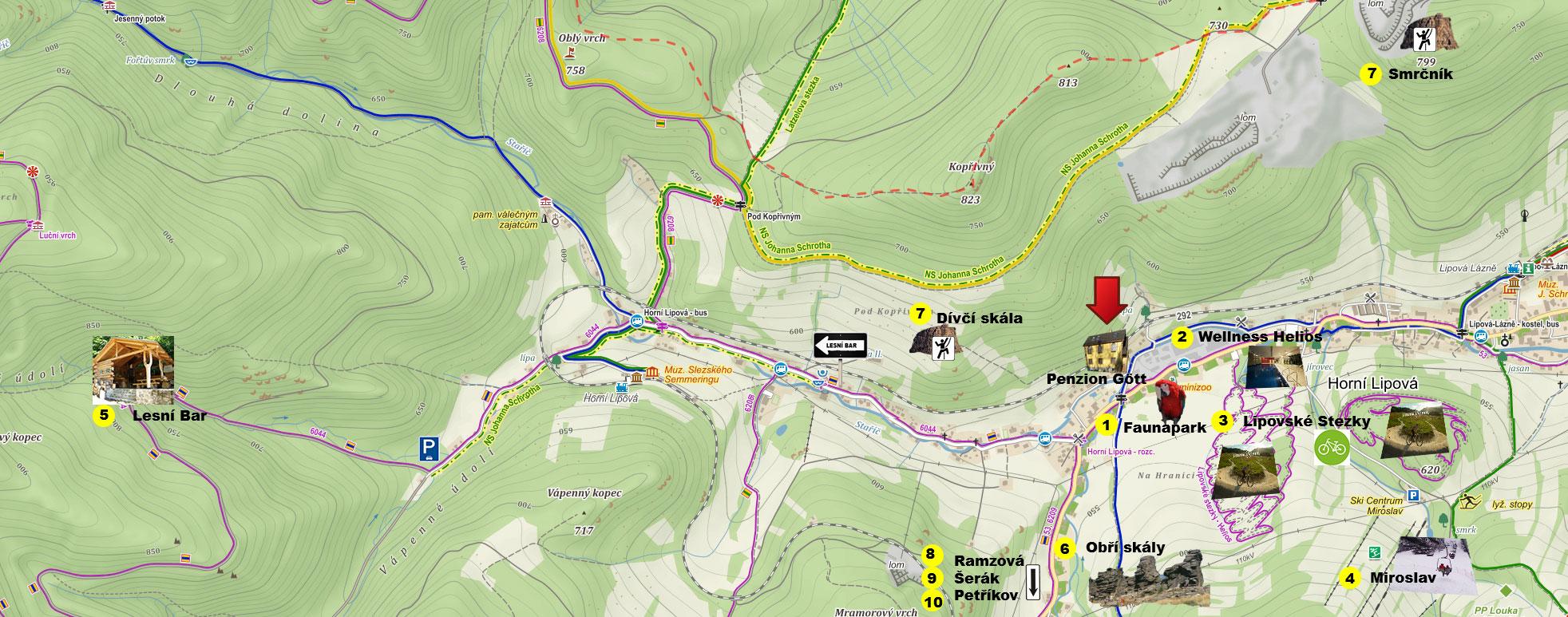 Mapa atrakcí Lipová lázně